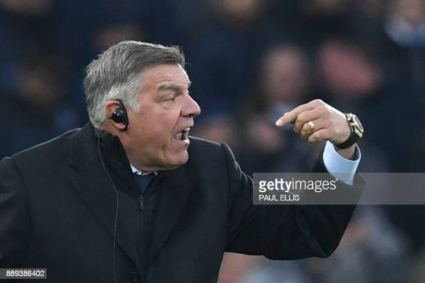 Everton's English manager Sam Allardyce shouts from the touchline during the English Premier League football match between Liverpool and Everton at...