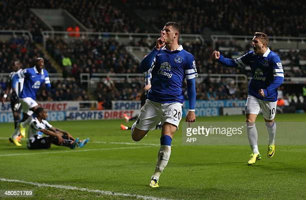 Everton's English midfielder Ross Barkley celebrates scoring the opening goal during the English Premier League football match between Newcastle...