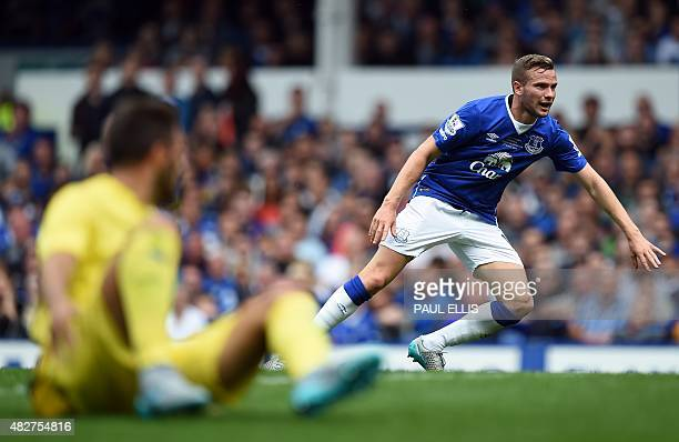 Everton's English midfielder Tom Cleverley chases the ball during the Duncan Ferguson Testimonal pre-season friendly football match between Everton...