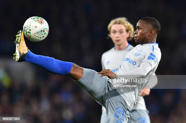TOPSHOT Everton's English striker Ademola Lookman controls the ball during the English League Cup fourth round football match between Chelsea and...