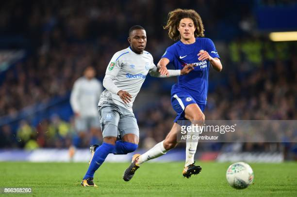 Everton's English striker Ademola Lookman vies with Chelsea's English defender Ethan Ampadu during the English League Cup fourth round football match...
