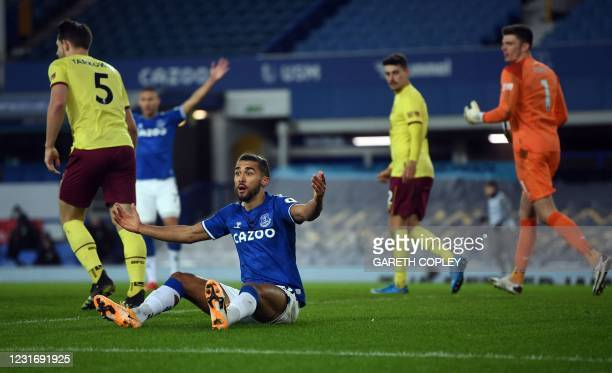 Everton's English striker Dominic Calvert-Lewin appeals for a foul during the English Premier League football match between Everton and Burnley at...