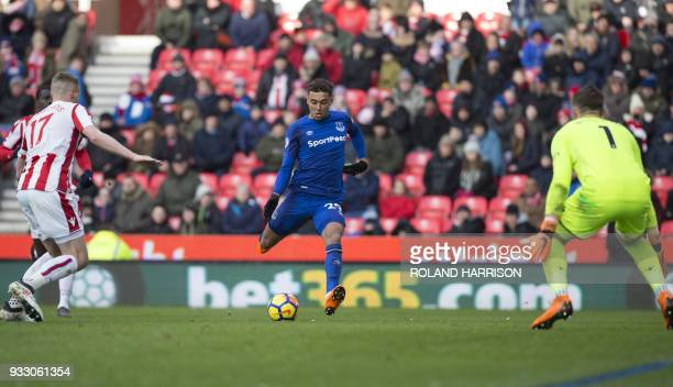 Everton's English striker Dominic CalvertLewin controls the ball during the English Premier League football match between Stoke City and Everton at...