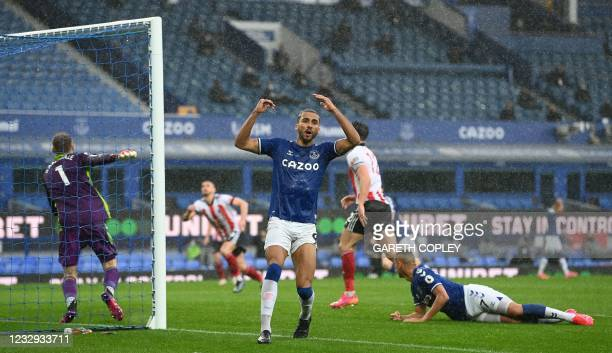 Everton's English striker Dominic Calvert-Lewin reacts after a missed chance during the English Premier League football match between Everton and...