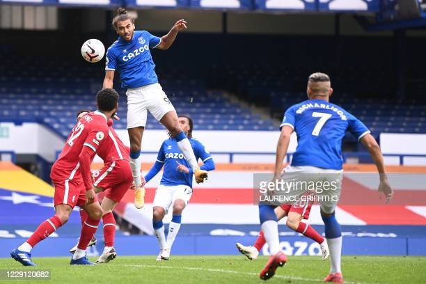 Everton's English striker Dominic Calvert-Lewin scores his team's second goal during the English Premier League football match between Everton and...