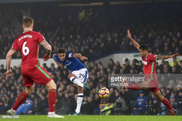TOPSHOT Everton's English striker Dominic CalvertLewin takes a shot during the English Premier League football match between Everton and Swansea City...