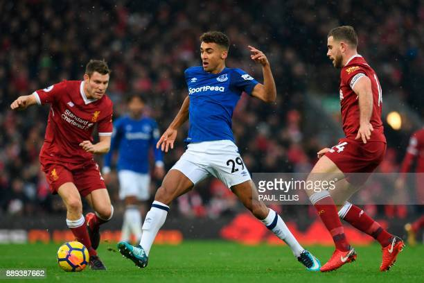 Everton's English striker Dominic CalvertLewin takes on Liverpool's English midfielder James Milner and Liverpool's English midfielder Jordan...