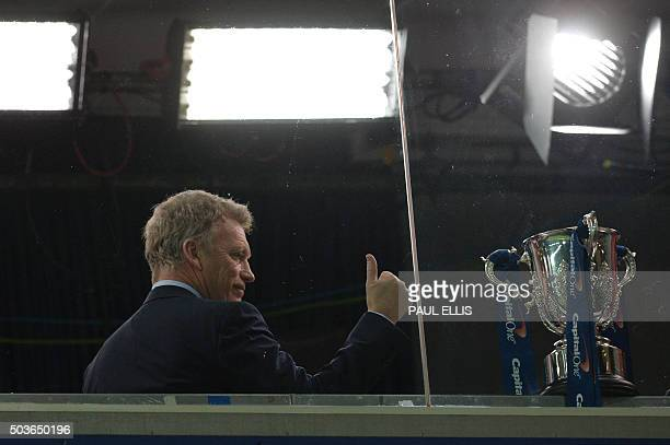 Everton's former Scottish manager David Moyes who subsequently had spells managing Manchcester United and Spanish club Real Sociedad gestures inside...