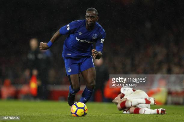 Everton's French striker Yannick Bolasie controls the ball during the English Premier League football match between Arsenal and Everton at the...