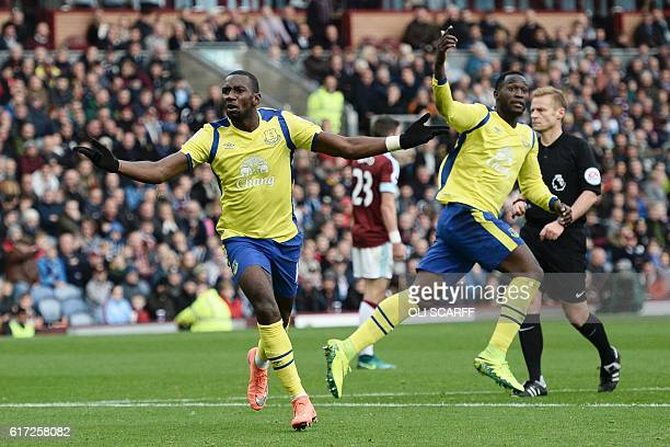 Everton's Frenchborn Congolese midfielder Yannick Bolasie celebrates scoring their first goal to equalise 11 as Everton's Belgian striker Romelu...