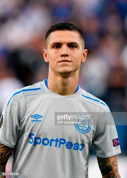 Everton's German midfielder Muhamed Besic looks on during the UEFA Europa League Group E football match Atalanta vs Everton at The Stadio Città del...