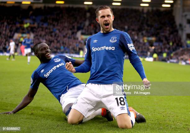 Everton's Gylfi Sigurdsson celebrates scoring his side's first goal of the game with Oumar Niasse during the Premier League match at Goodison Park...