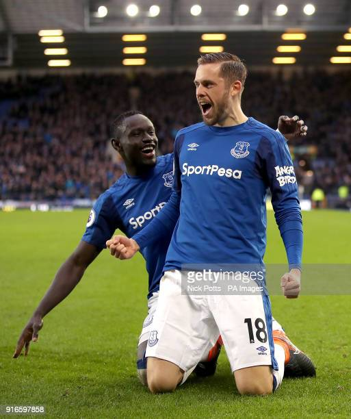 Everton's Gylfi Sigurdsson celebrates scoring his side's first goal of the game during the Premier League match at Goodison Park Liverpool