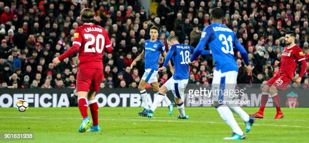 Everton's Gylfi Sigurdsson scores his side's equalising goal to make the score 11 during the Emirates FA Cup Third Round match between Liverpool and...