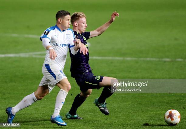 Everton's Harry Charsley fights for the ball against Apollon Limassol's Esteban Sachetti during the UEFA Europa League group stage football match...