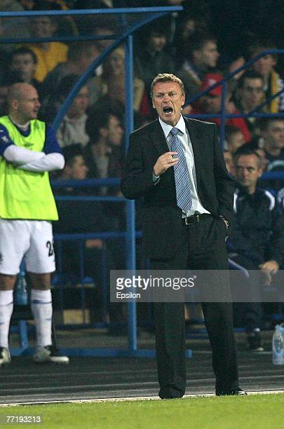 Everton's head coach David Moyes players reacts during the UEFA Cup 1st Round 2nd Leg match between Metalist Kharkiv Everton at the Metalist Stadium...