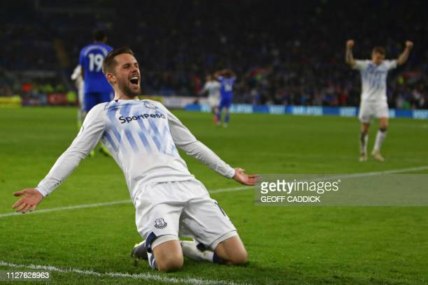 TOPSHOT Everton's Icelandic midfielder Gylfi Sigurdsson celebrates after scoring their second goal during the English Premier League football match...