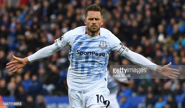 Everton's Icelandic midfielder Gylfi Sigurdsson celebrates scoring his team's second goal during the English Premier League football match between...