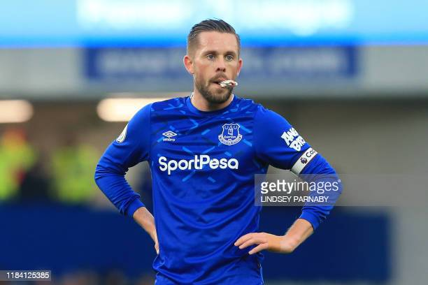 Everton's Icelandic midfielder Gylfi Sigurdsson looks on during the English Premier League football match between Everton and Norwich City at...