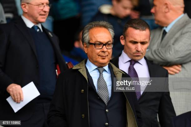 Everton's Iranian owner Farhad Moshiri arrives for the English Premier League football match between Everton and Chelsea at Goodison Park in...