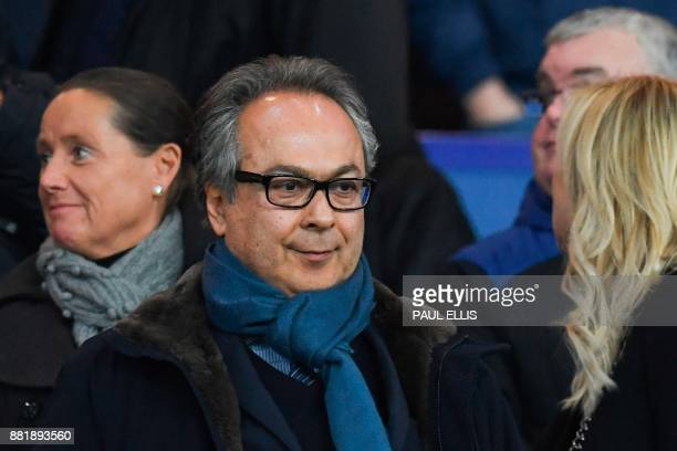Everton's Iranian owner Farhad Moshiri arrives in the stands to watch the English Premier League football match between Everton and West Ham United...