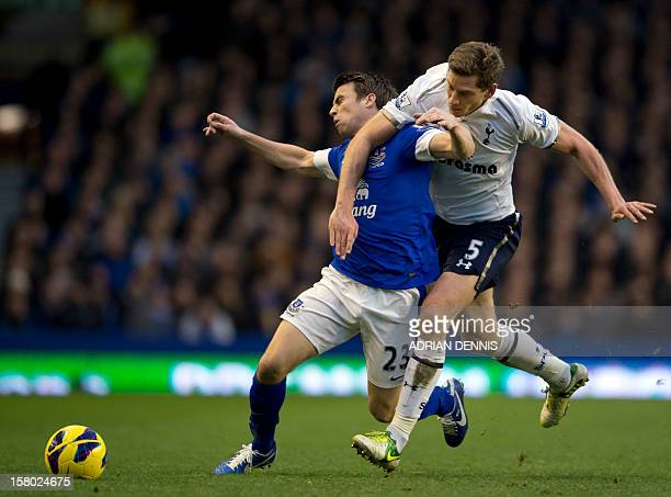 Everton's Irish defender Seamas Coleman vies for the ball with Tottenham Hotspur's Belgian defender Jan Vertonghen during the English Premier League...