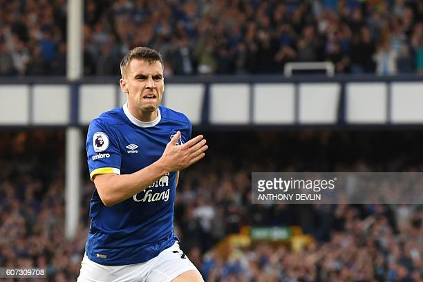 Everton's Irish defender Seamus Coleman celebrates after scoring during the English Premier League football match between Everton and Middlesbrough...
