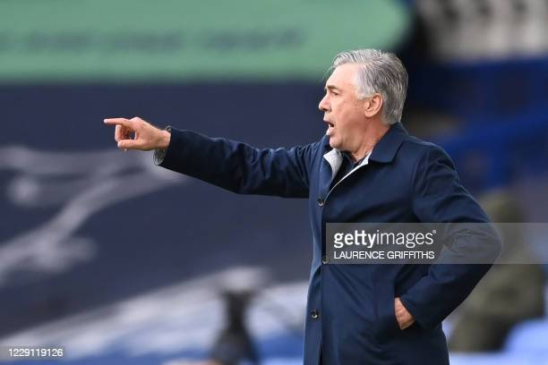 Everton's Italian head coach Carlo Ancelotti gestures during the English Premier League football match between Everton and Liverpool at Goodison Park...