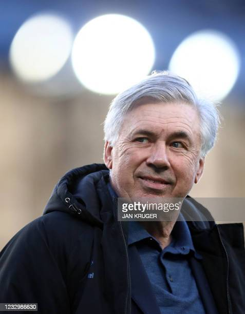 Everton's Italian head coach Carlo Ancelotti leaves after the English Premier League football match between Everton and Wolverhampton Wanderers at...