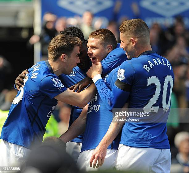 Everton's James McCarthy celebrates scoring his teams first goal against Manchester United during the English Premier League match between Everton...