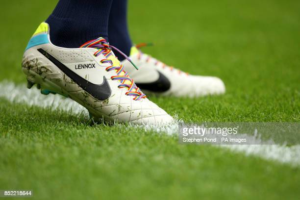 Everton's John Heitinga displays rainbow laces on his boots in support of an Anti Homophobia campaign during the Barclays Premier League match at...