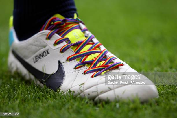 Everton's John Heitinga displays rainbow laces on his boots in support of an Anti Homophobia campaign