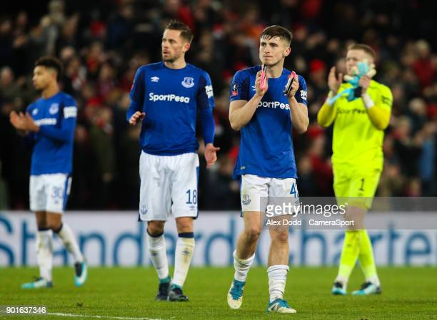 Everton's Jonjoe Kenny applauds the fans after the match during the Emirates FA Cup Third Round match between Liverpool and Everton at Anfield on...