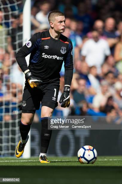 Everton's Jordan Pickford during the Premier League match between Chelsea and Everton at Stamford Bridge on August 27 2017 in London England