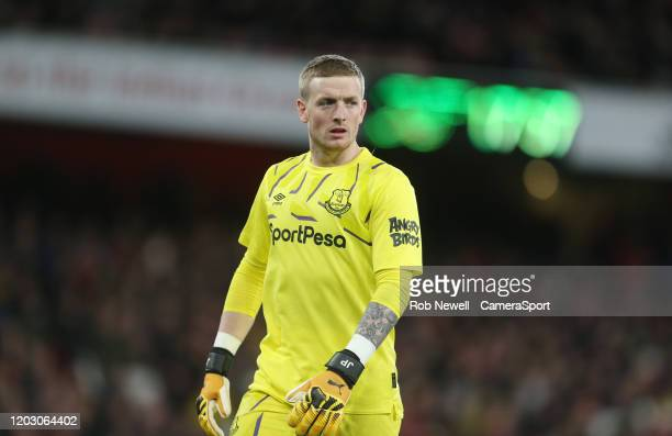 Everton's Jordan Pickford during the Premier League match between Arsenal FC and Everton FC at Emirates Stadium on February 23 2020 in London United...