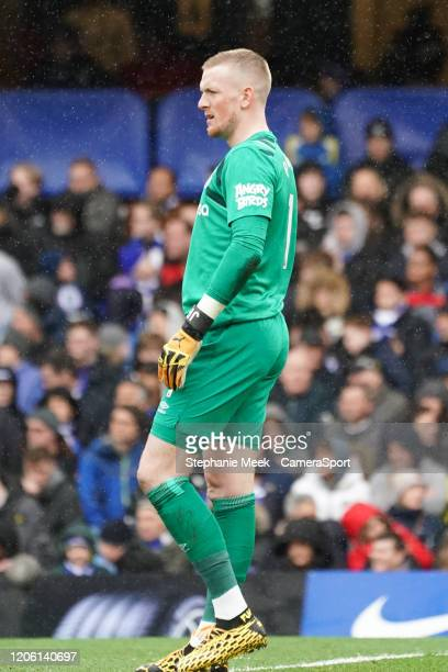 Everton's Jordan Pickford during the Premier League match between Chelsea FC and Everton FC at Stamford Bridge on March 8 2020 in London United...