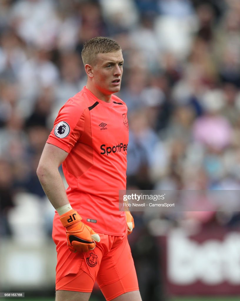 Everton's Jordan Pickford during the Premier League match between West Ham United and Everton at London Stadium on May 13, 2018 in London, England.