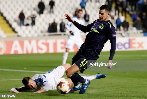 Everton's Kevin Mirallas fights for the ball during the UEFA Europa League group stage football match between Apollon Limassol and Everton at the GSP...