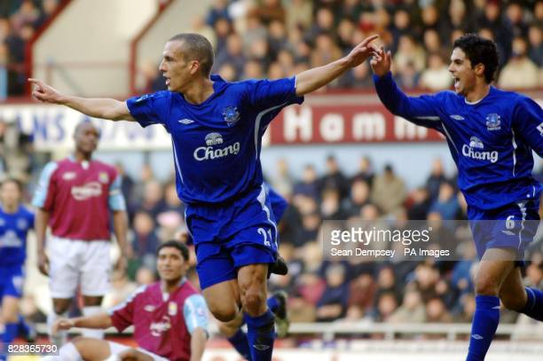 Everton's Leon Osman celebrates scoring against West Ham United during the Barclays Premiership match at Upton Park east London Saturday March 4 2006...