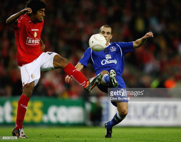 Everton's Leon Osman in action with Dante Bonfim of Standard Liege during the UEFA Cup first round second leg match between Standard Liege and...