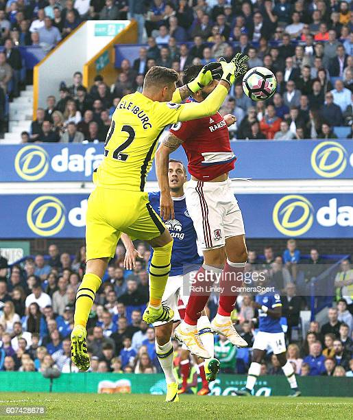 Everton's Maarten Stekelenburg has an aerial ball knocked out of his hands by Middlesbrough's Alvaro Negredo leading to the controversial opening...