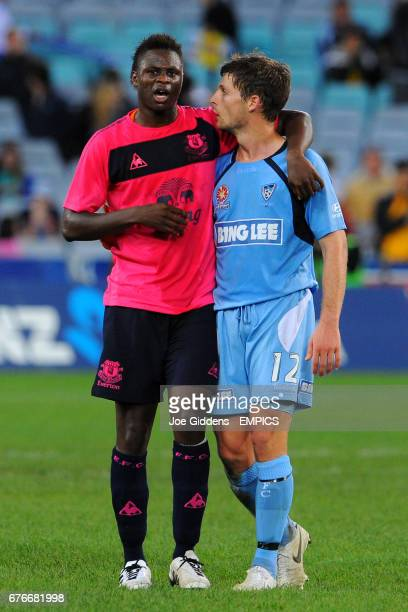 Everton's Magaye Gueye with Sydney FC's Shannon Cole at the final whistle