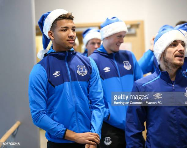 Everton's Mason Holgate and Leighton Baines during their Christmas visit at Alder Hey Childrens Hospital on December 21 2017 in Liverpool England