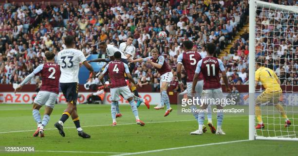 Everton's Michael Keane with a first half header during the Premier League match between Aston Villa and Everton at Villa Park on September 18, 2021...