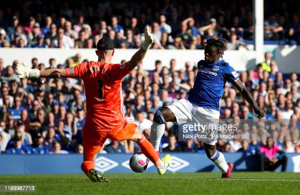 Everton's Moise Kean has a shot on goal blocked by Sheffield United goalkeeper Dean Henderson during the Premier League match at Goodison Park...