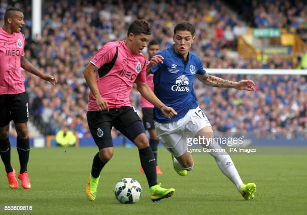 Everton's Muhamed Besic battle for the ball