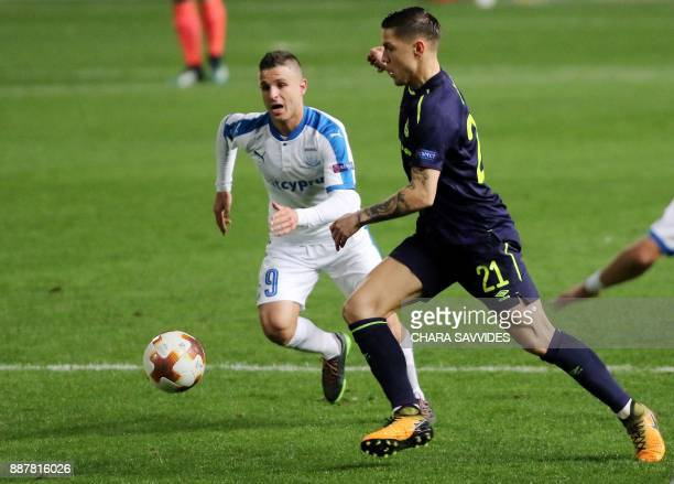 Everton's Muhamed Besic fights for the ball against Apollon Limassol's Nicolas Martinez during the UEFA Europa League group stage football match...