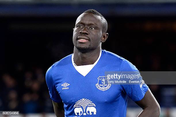 Everton's new signing Oumar Niasse is introduced to the fans before the Barclays Premier League match between Everton and Newcastle United at...