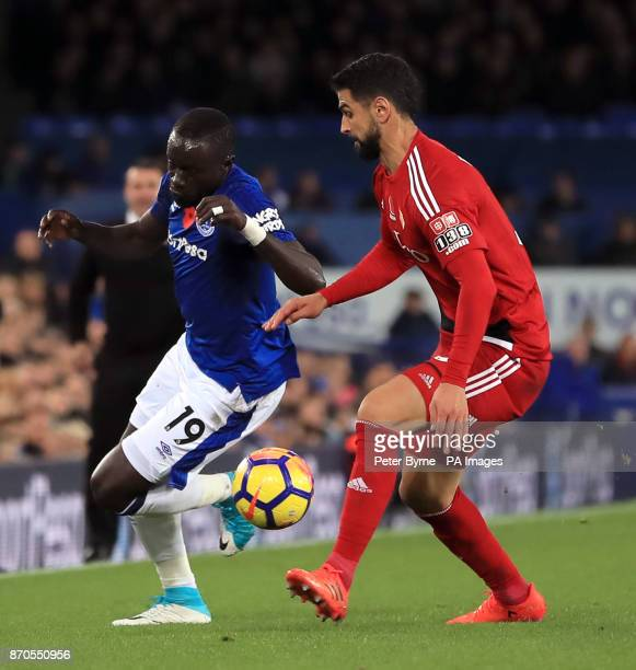 Everton's Oumar Niasse and Watford's Miguel Britos battle for the ball during the Premier League match at Goodison Park Liverpool