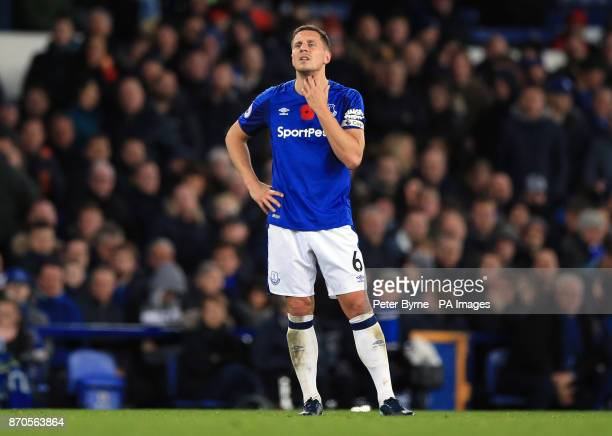 Everton's Phil Jagielka appears dejected during the Premier League match at Goodison Park Liverpool